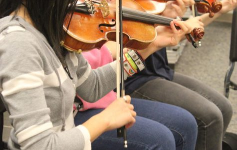 Orchestra practicing for the Orchestra Chamber Music Recital. Photo by Stephanie
