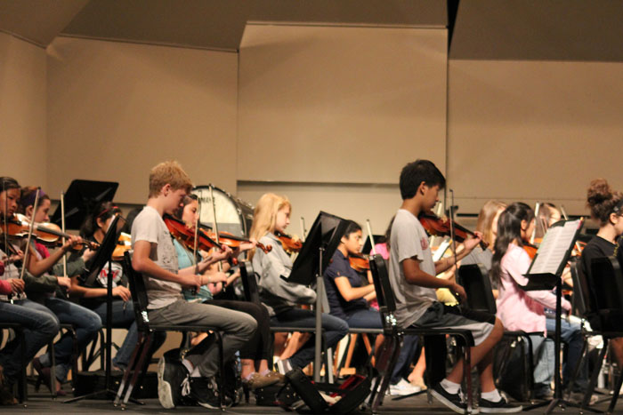 Orchestra Practicing for Fall Concert. Photo by Stephanie Swanson