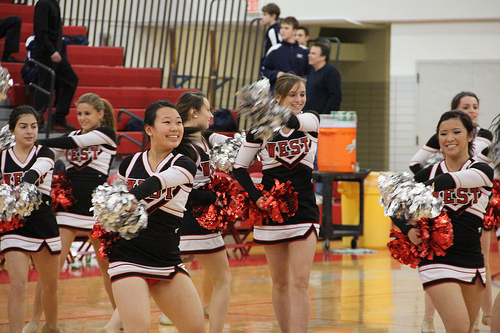 Pommers pictured performing during half time at the boys basketball game against Buffalo Grove.