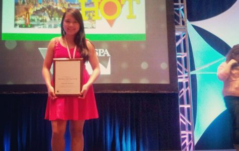 Junior and NWN news editor Gabby Abesamis receiving her award at Nationals.