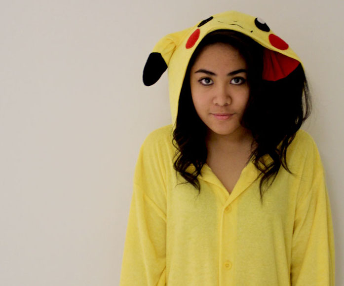Sharon+Pasia+in+her++famous+one-piece+Pikachu+suit.