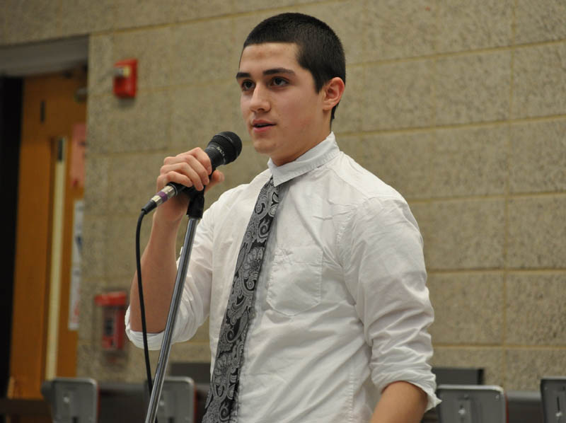 Senior Michael Gonzalez competes in Poetry Out Loud.