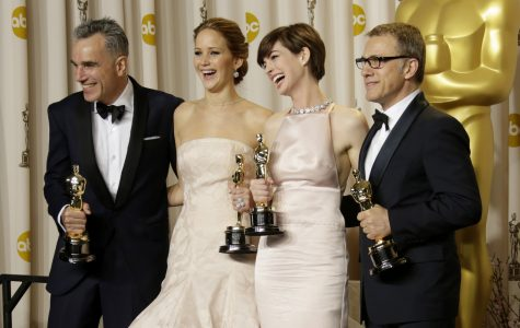 From left, Daniel Day-Lewis, Jennifer Lawrence, Anne Hathaway and Christoph Waltz backstage at the 85th annual Academy Awards at the Dolby Theatre at Hollywood & Highland Center in Los Angeles, California, Sunday, February 24, 2013. (Lawrence K. Ho/Los Angeles Times/MCT)