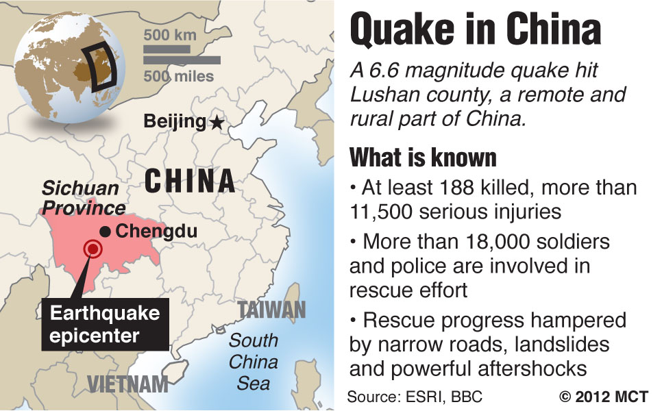 Map locating China's Sichuan province where a deadly earthquake has killed at least 180 and injured thousands; China has deployed thousands of workers in a massive rescue operation. MCT 2013