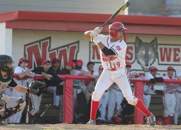 Freshman Michael Gunartt steps up to bat during the Niles North game. Photo by Emily Butera