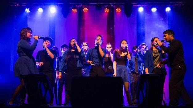 During Singstrong Chicago, an a cappella festival that raises money for Alzheimer's research, all three groups from Niles West and surrounding high schools compete in the high school division competition.