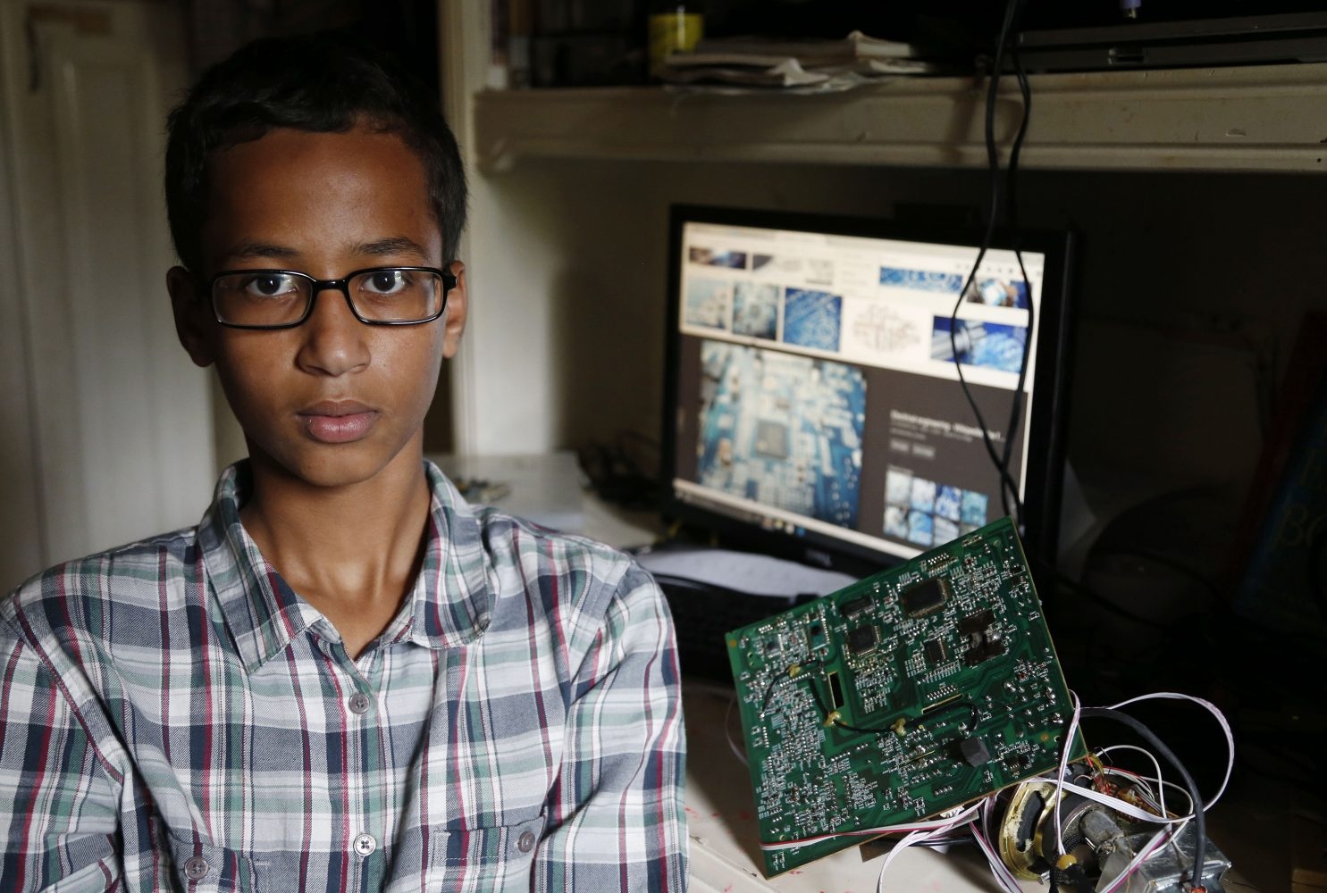 Irving MacArthur High School student Ahmed Mohamed, 14, poses for a photo at his home in Irving, Texas, on Tuesday, Sept. 15, 2015. Mohamed was arrested and interrogated by Irving Police officers on Monday after bringing a homemade clock to school. (Vernon Bryant/Dallas Morning News/TNS)