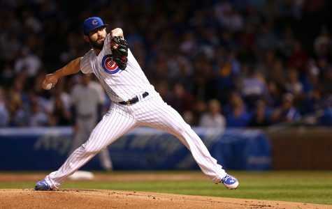Chicago Cubs starting pitcher Jake Arrieta delivers to the Milwaukee Brewers during the first inning on Tuesday, Sept. 22, 2015, at Wrigley Field in Chicago. (Chris Sweda/Chicago Tribune/TNS)