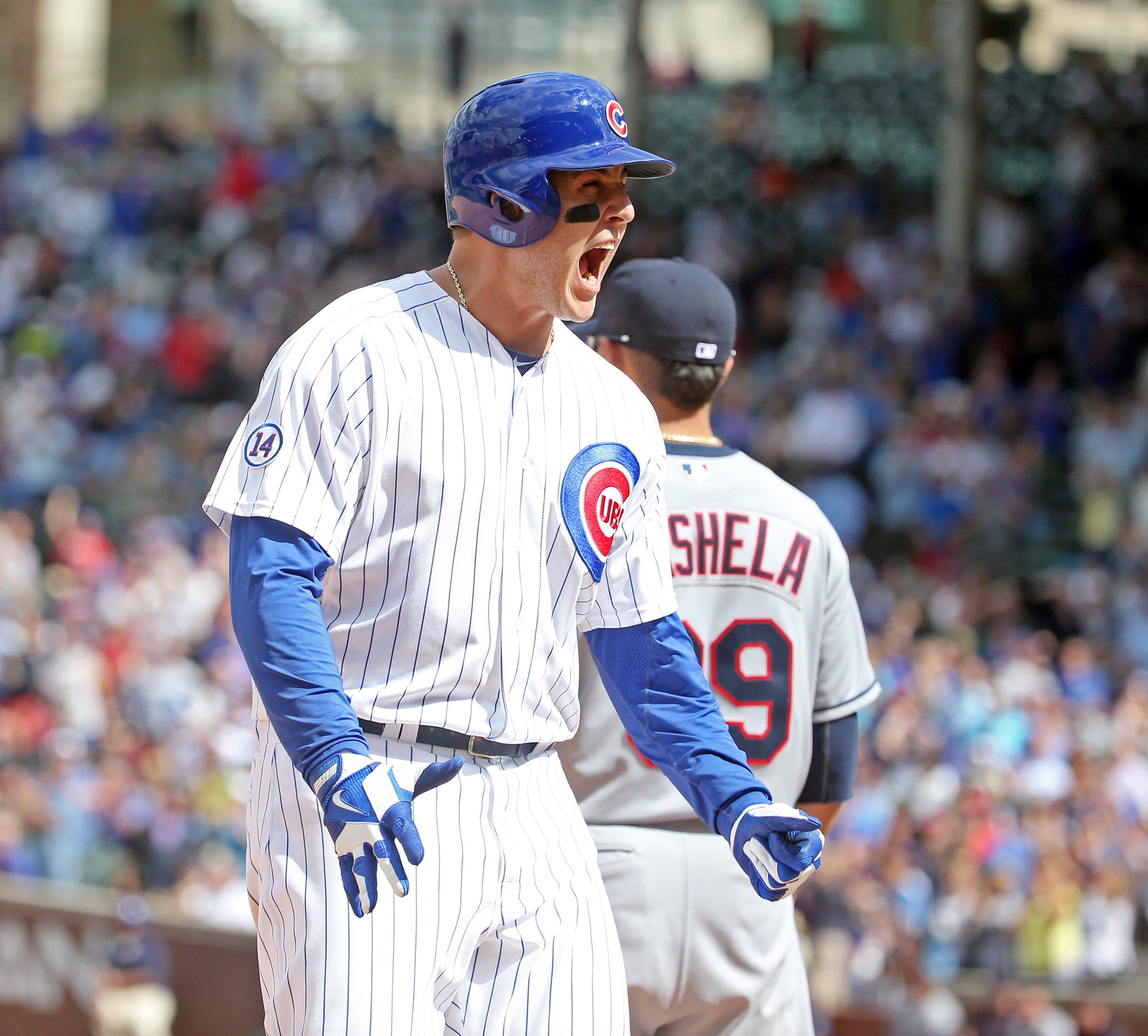 Chicago Cubs first baseman Anthony Rizzo (44) celebrates his RBI triple during the seventh inning on Monday, Aug. 24, 2015, at Wrigley Field in Chicago. (Brian Cassella/Chicago Tribune/TNS)