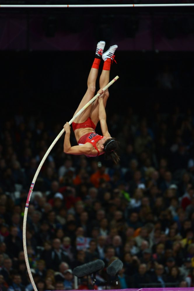 USA's Jennifer Suhr competes in the women's pole vault final during the Summer Olympic Games in London, England on Monday, August 6, 2012. (Nhat V. Meyer/San Jose Mercury News/MCT)
