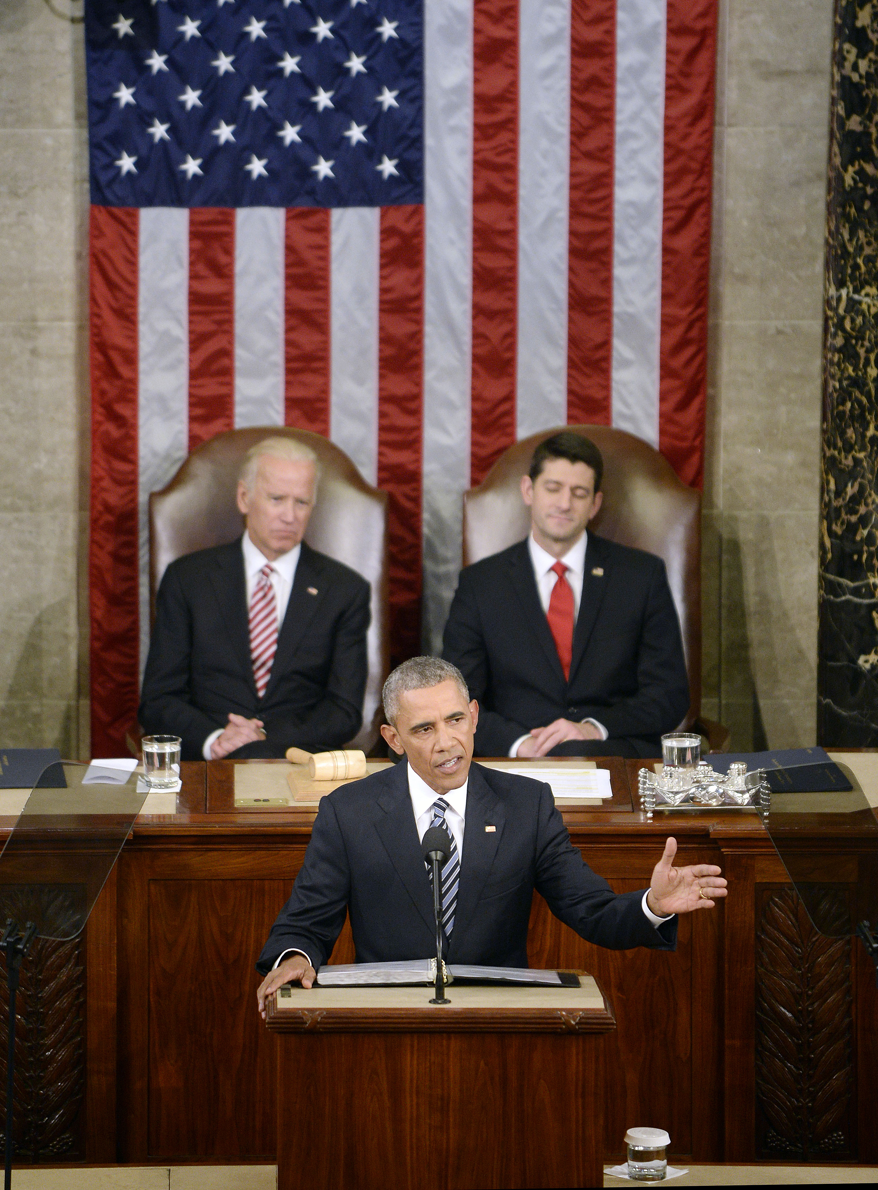 U.S. President Barack Obama delivers his final State of the Union address to a joint session of Congress at the Capitol in Washington, D.C., on Tuesday, Jan. 12, 2016. (Olivier Douliery/Abaca Press/TNS)