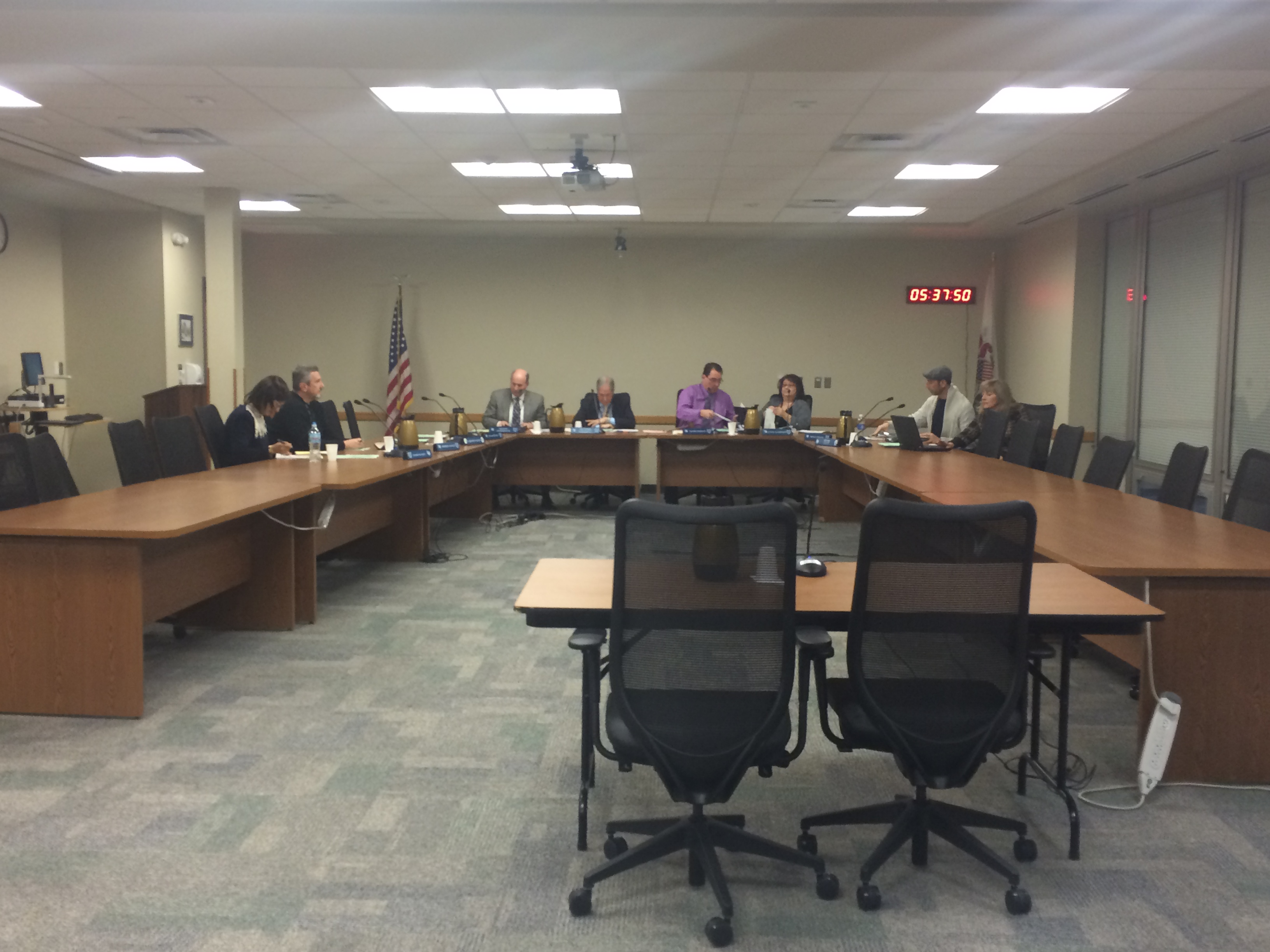 The Board of Education at the special board meeting held Wednesday, Feb. 17, 2016.
