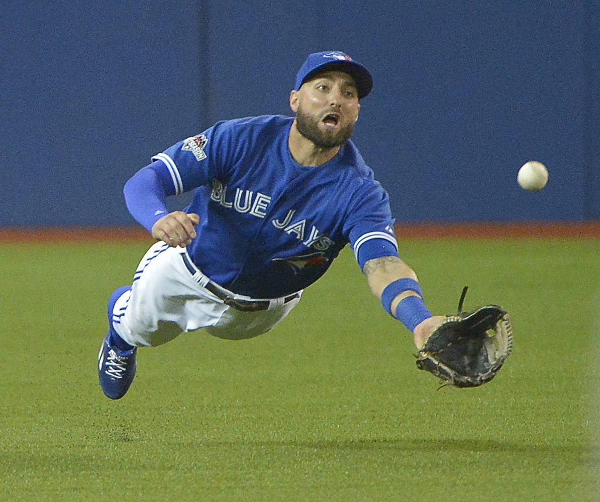 Toronto Blue Jays center fielder Kevin Pillar makes a diving catch to rob the Texas Rangers Josh Hamilton of a base hit during the fourth inning during Game 5 of the ALDS at Rogers Centre in Toronto on Wednesday, Oct. 14, 2015. The Blue Jays won, 6-3, to eliminate the Rangers. (Max Faulkner/Fort Worth Star-Telegram/TNS)