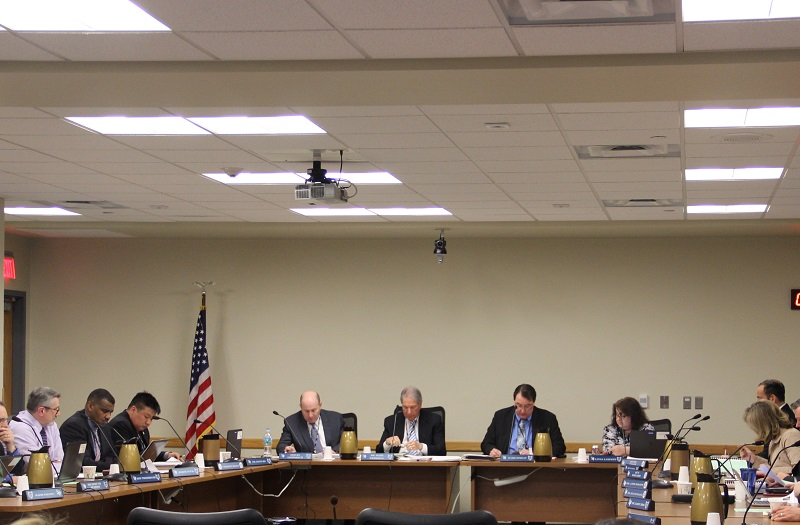 The Board of Education during a meeting on April 7, 2016.