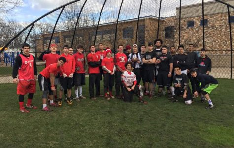 A large group of seniors participate in the annual Turkey Bowl. Photo by Sokol Delisi