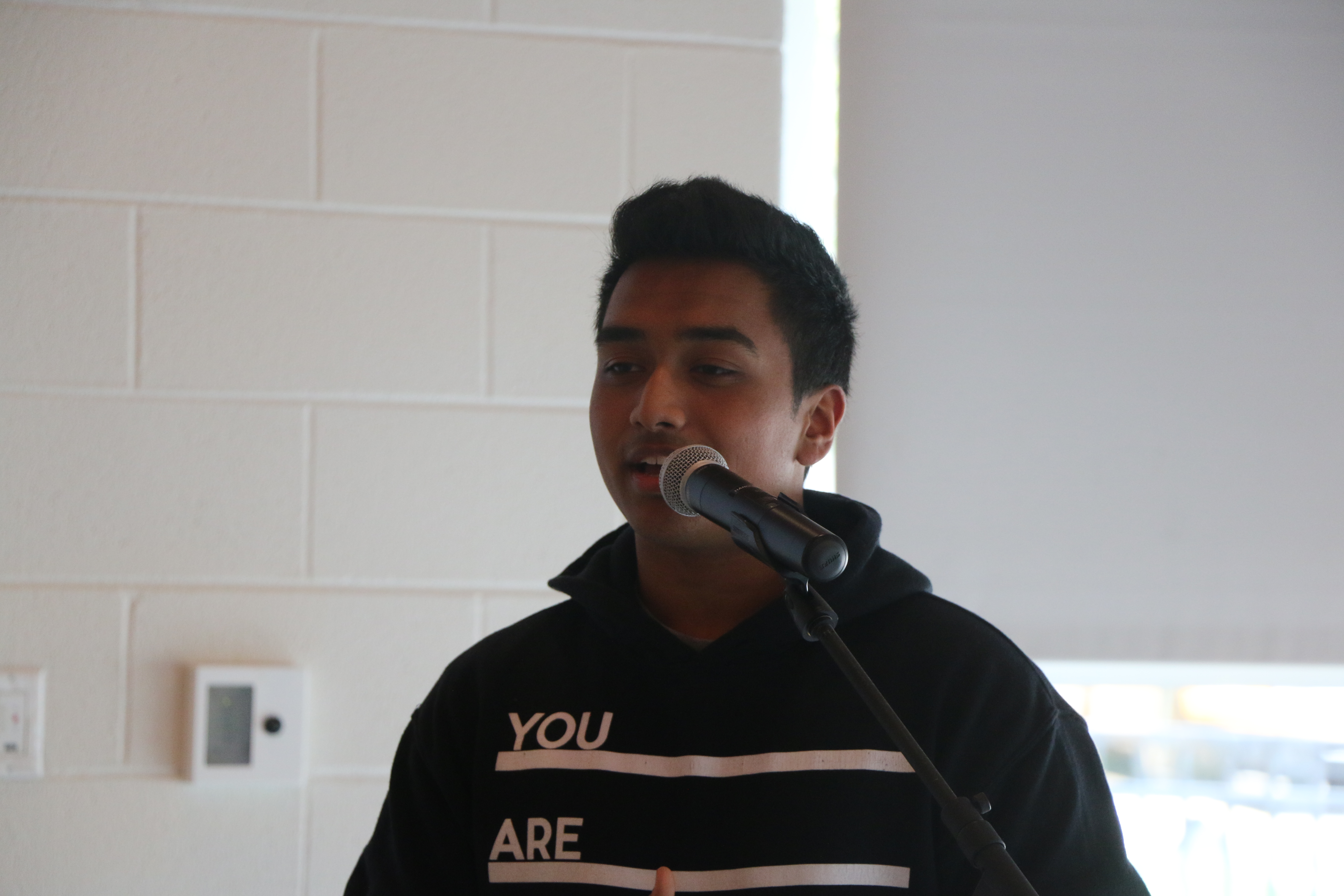 Junior Shebin Chacko speaks about racial equity at the student forum on Wednesday, Mary 3. on Photo by Sana Kadir