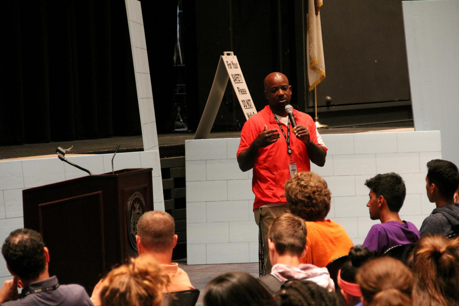 Athletic Director Kendall Griffin speaks to student athletes after school on Wed., Sept. 27.
