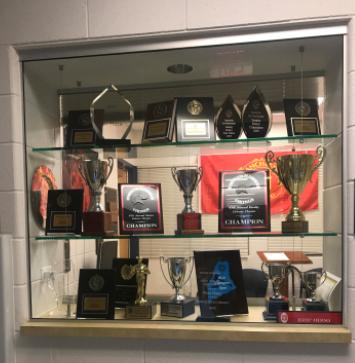 Debate trophies outside of room 2240.