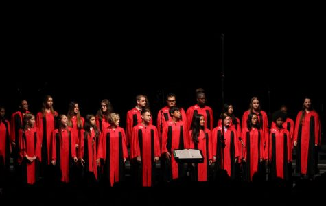 Concert Choir gather for a uniformed performance, singing