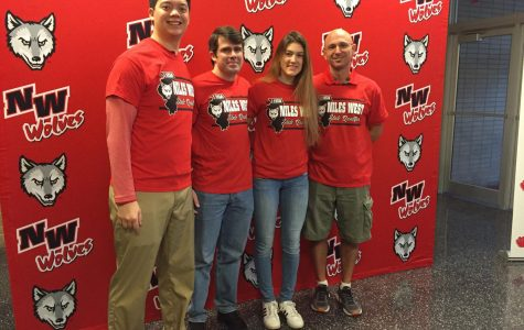 On Thursday, Nov. 16, senior Mia Piljevic and all of the swimming coaching staff gathered for a picture.