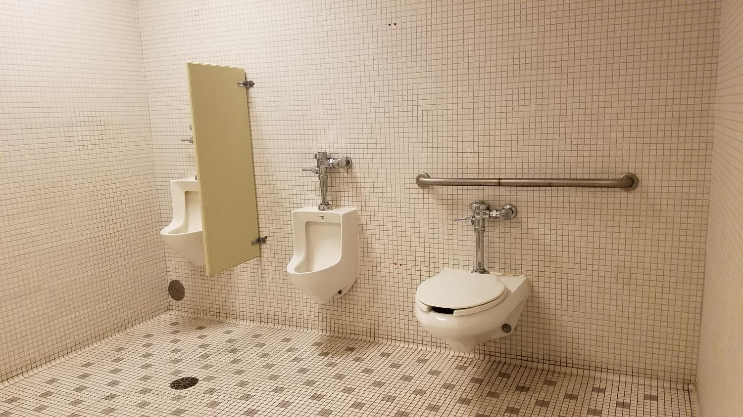 The men's bathroom without  stalls has been the cause of confusion for many students.