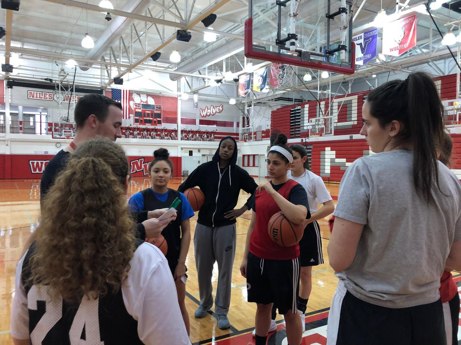 WNBA star and Niles West alumna Jewell Loyd has been assistant coaching the girls varsity basketball team on Jan. 11. Photo by Katerina Paulos.