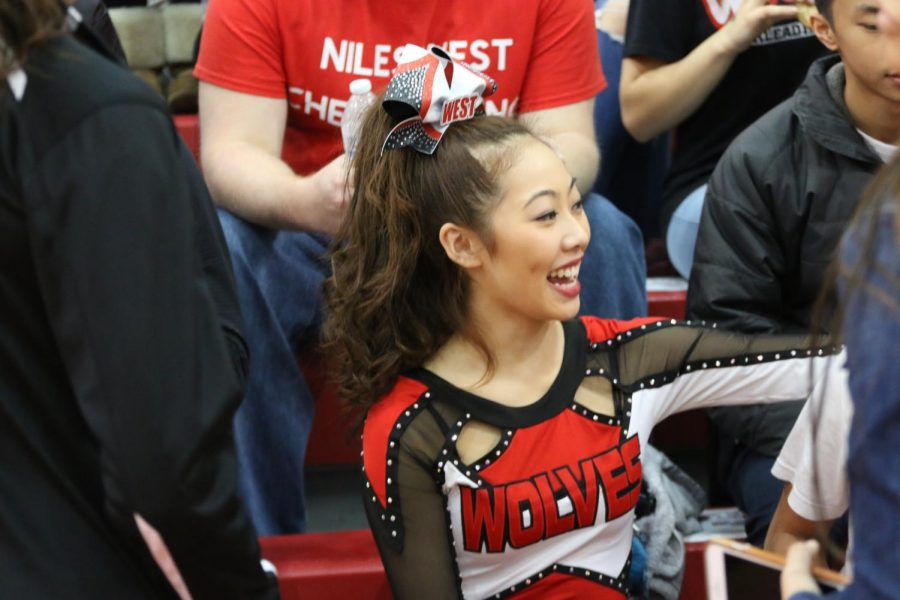 Senior Christina Lee excitedly awaits the results after their performance.