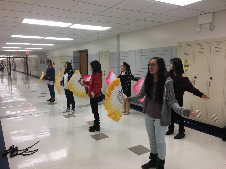 Chinese Club rehearsing their dance for International Night.