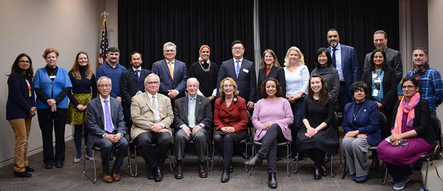Community leaders gather to announce the 2018 Coming Together project, Celebrating Muslim-American Cultures on Jan. 11. Photo by Karyn Malench.