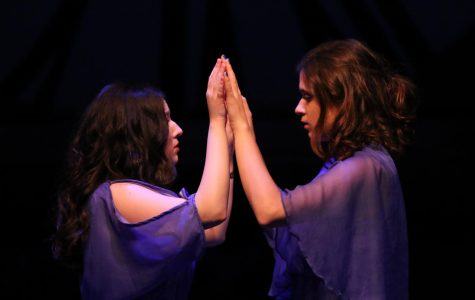Shannon Berg (Young Woman) and Sarah Zasso (Her) act out an intimate scene during the show.