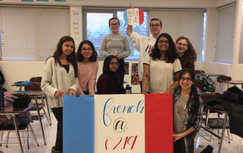 Students in French Club created hallway decorations for the International Week celebrations. Photo by Mike McKay.