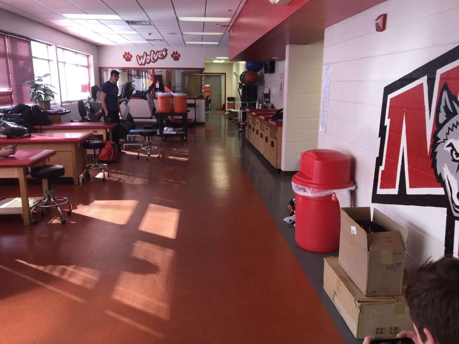 The athletic training facility is located on the first floor of Niles West.