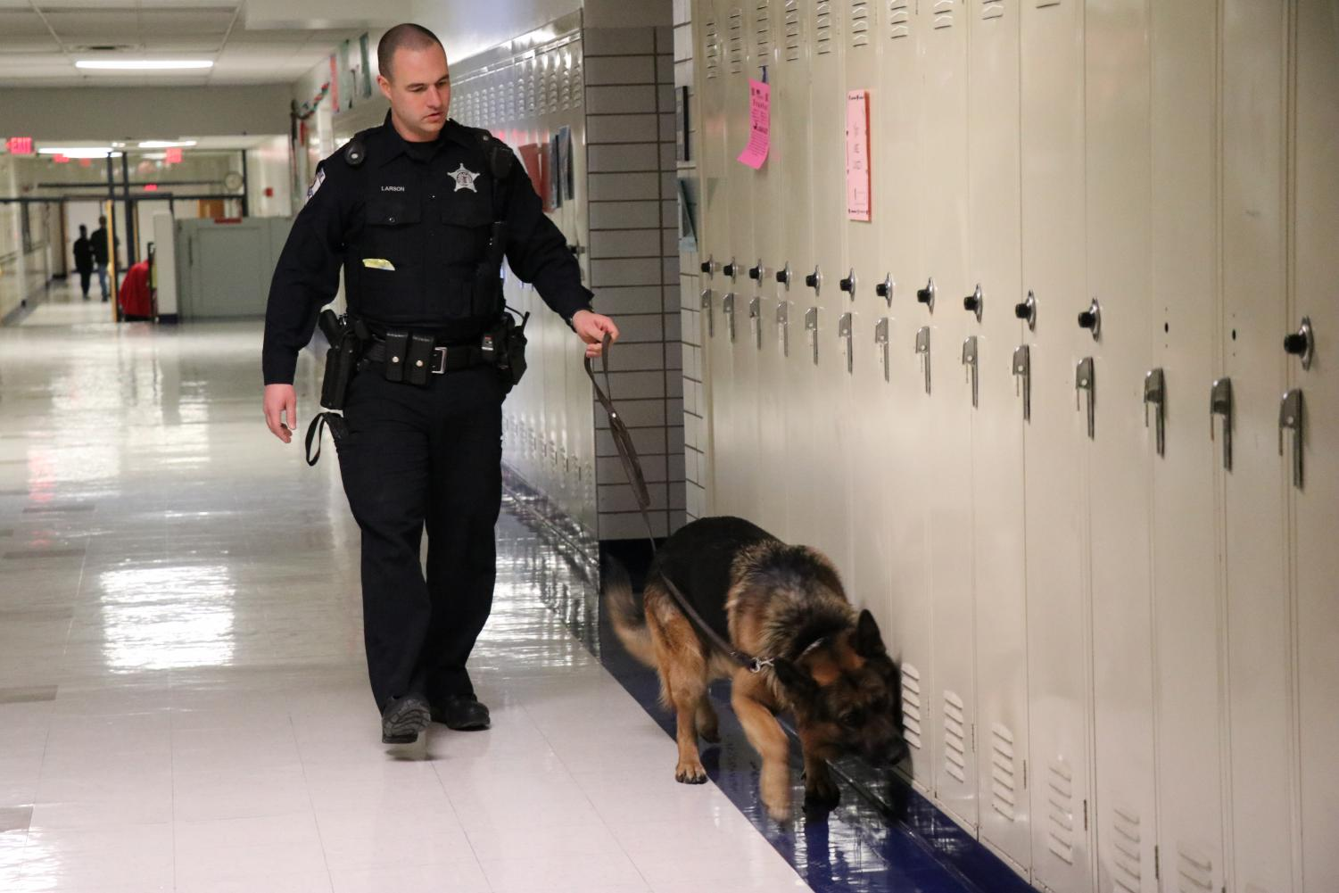 The Skokie Police Department conducts drug sweep on the first floor.