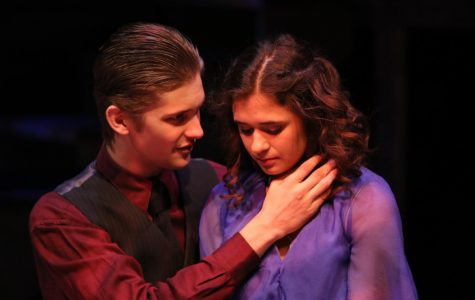 Shannon Berg (Young Woman) and Sean Collins (Husband) acting in a dramatic scene.