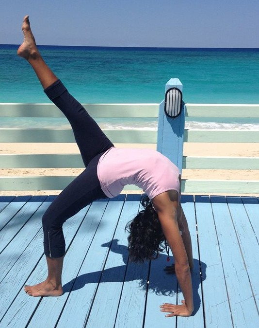 Math teacher Seema Chandarana participating in one of her favorite pastimes, yoga.