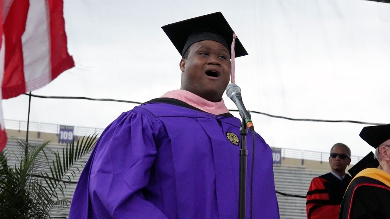 Carl Alexander sang the National Anthem at the 2017 Northwestern Commencement.