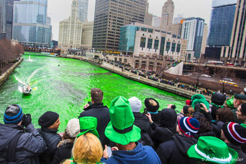 The Chicago River annually gets died in honor of the St. Patricks day parade.