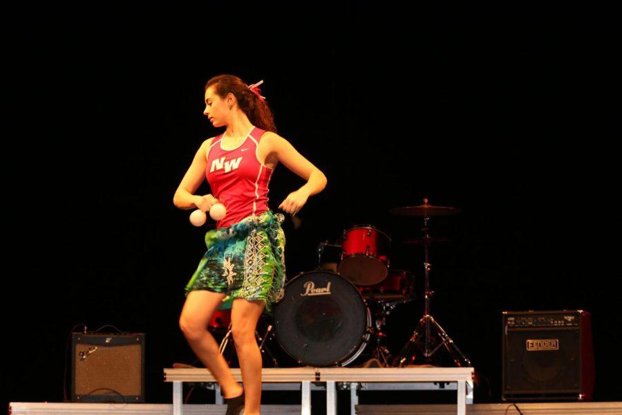 Kristi Bliznakov practing her Polynesian Dance Routine titled