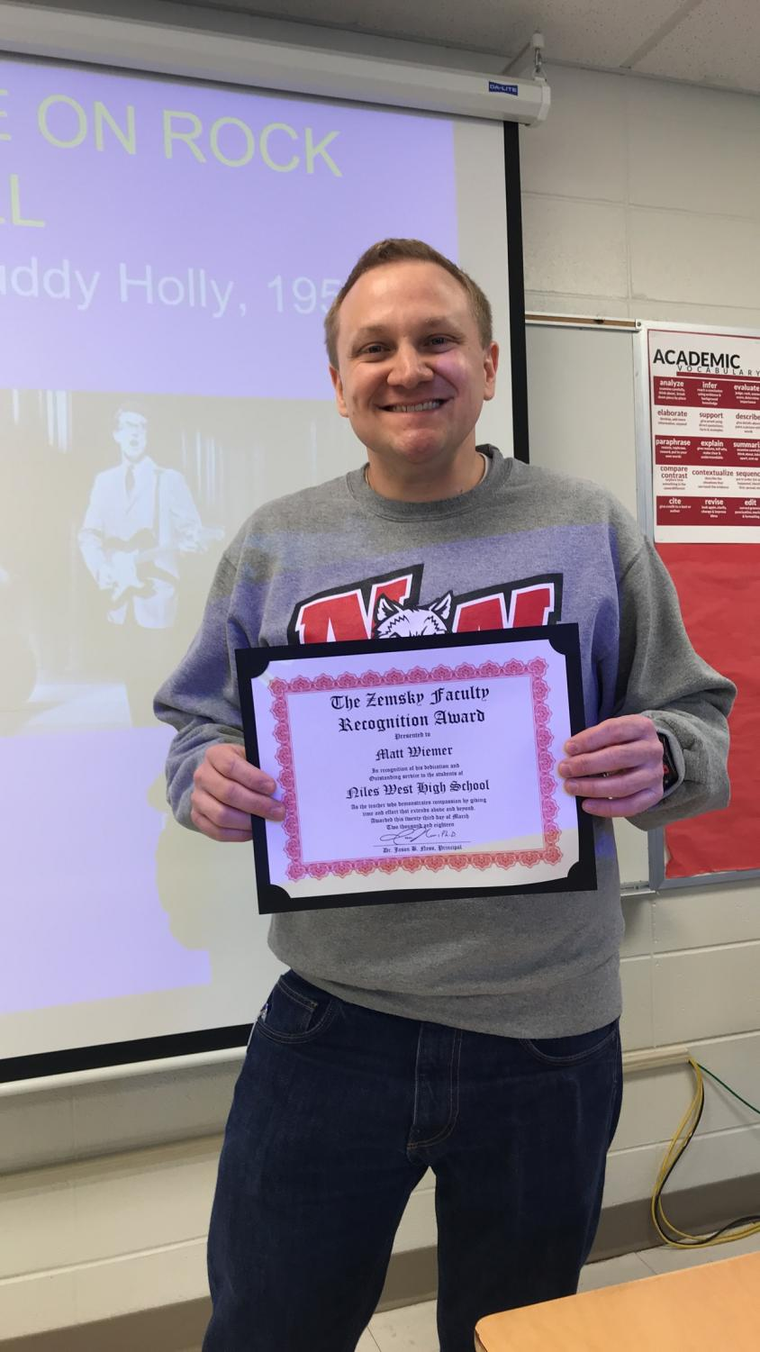 Social Studies teacher Matt Wiemer is the recipient of this year's David L. Zemsky Teacher of the Year Award.
