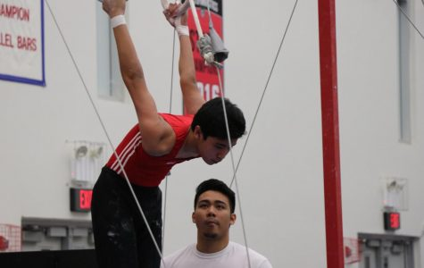 Athlete swings into his next hold on the rings.