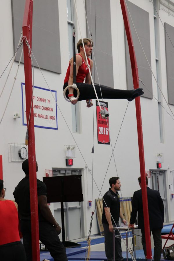 Niles West gymnast up on the rings in a pike position.