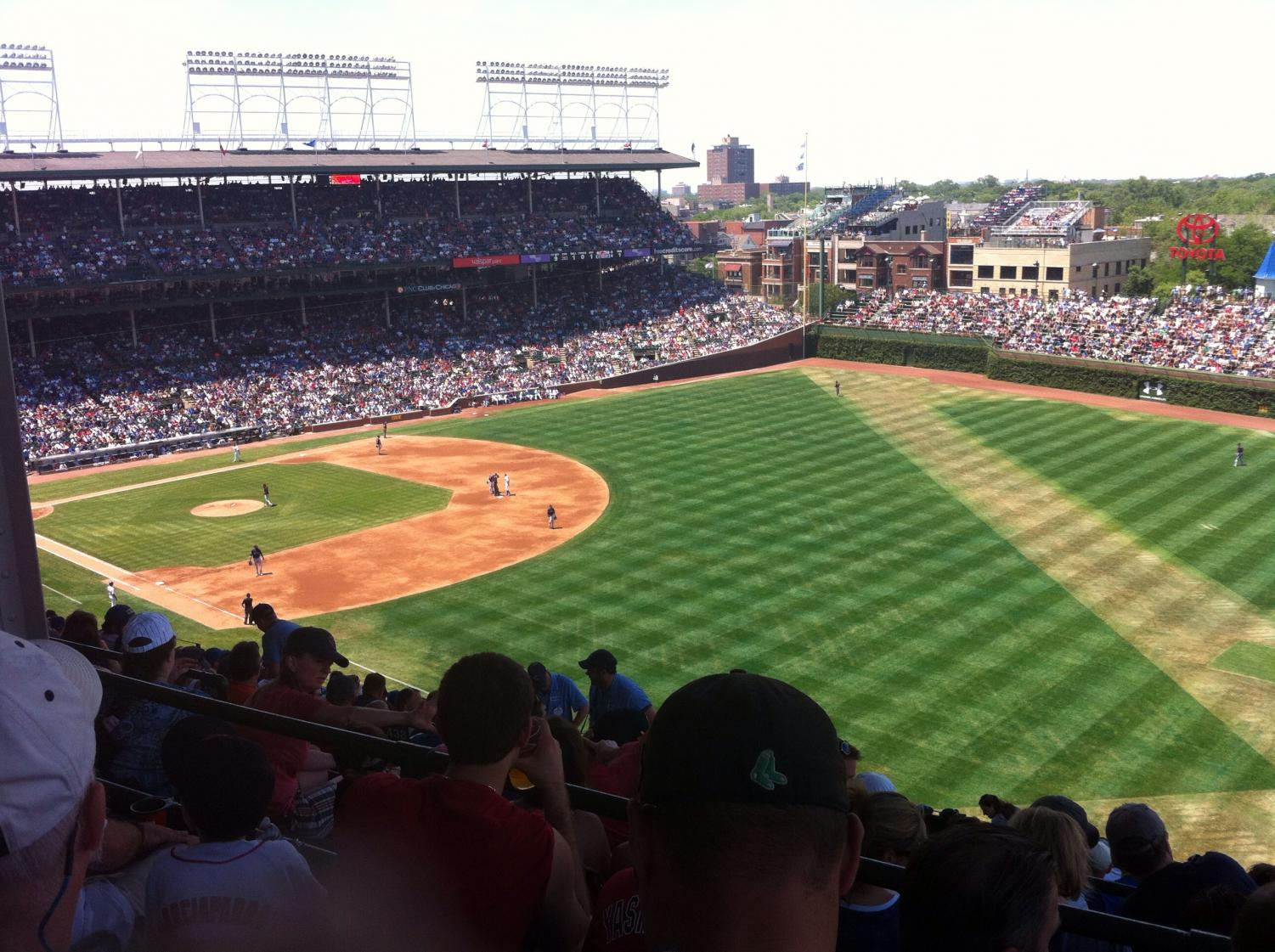The baseball field when thee Cubs played the Red Sox this past year.