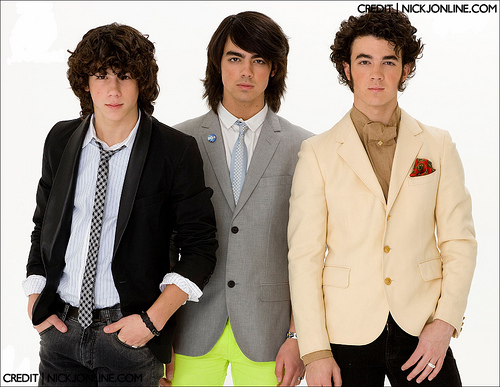 The Jonas Brothers posing for a picture in the 2000s.