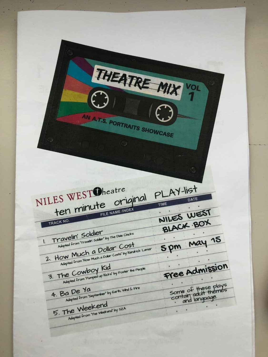 This is the pamphlet from the 2018 Advanced Theatre Studio.