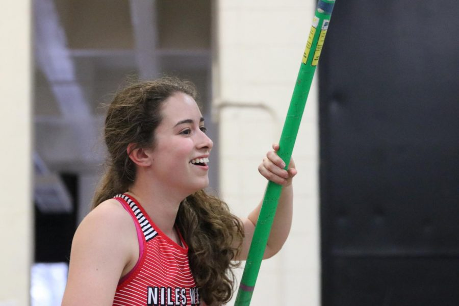 Alba Note expresses her emotion on her score on pole vault.