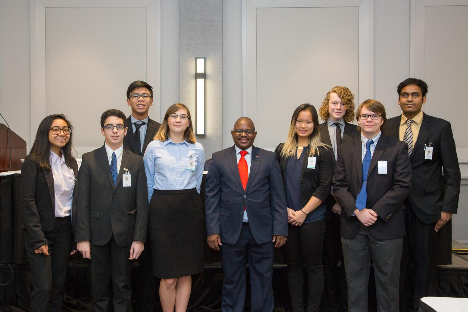 Members of the Niles West Model United Nations delegation meet with the Consulate-General of South Africa.