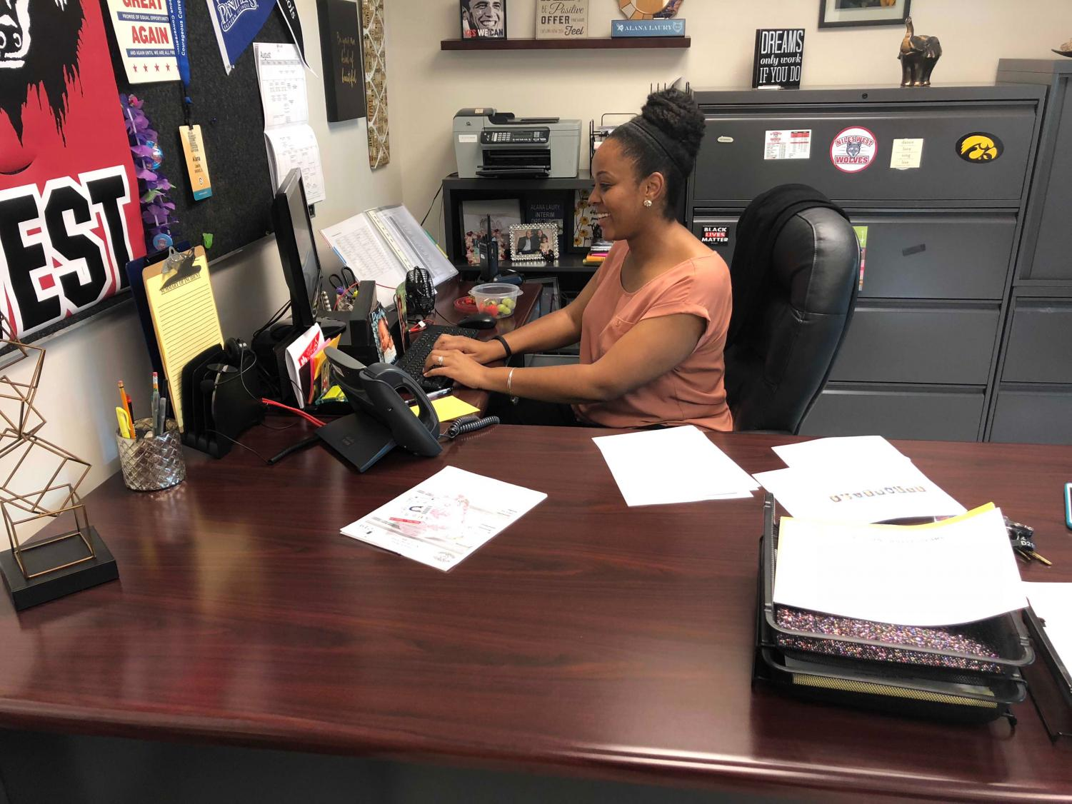 Dean of students Alana Laury hard at work in her office.