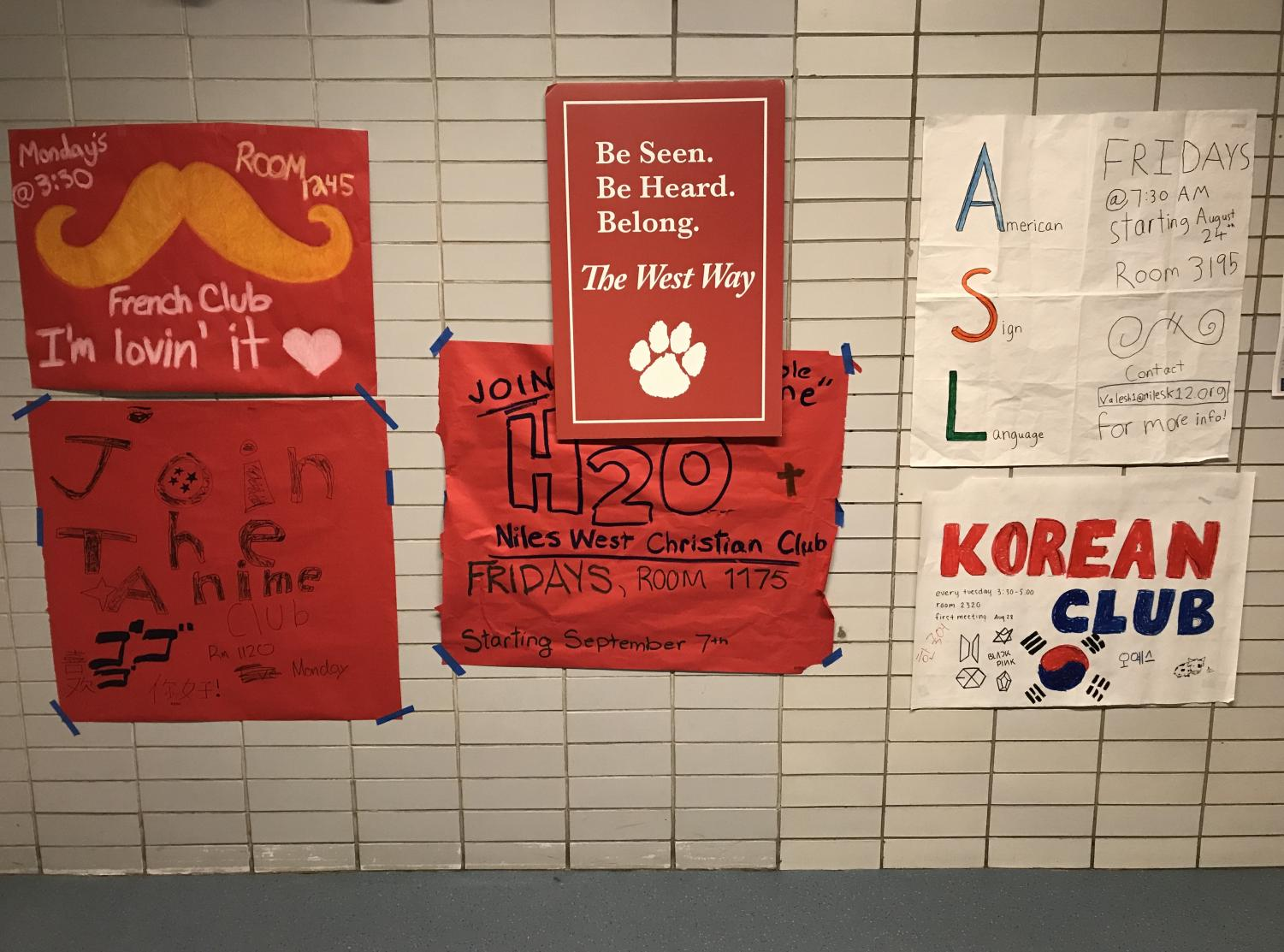 Posters promoting the variety of clubs in the hallways.