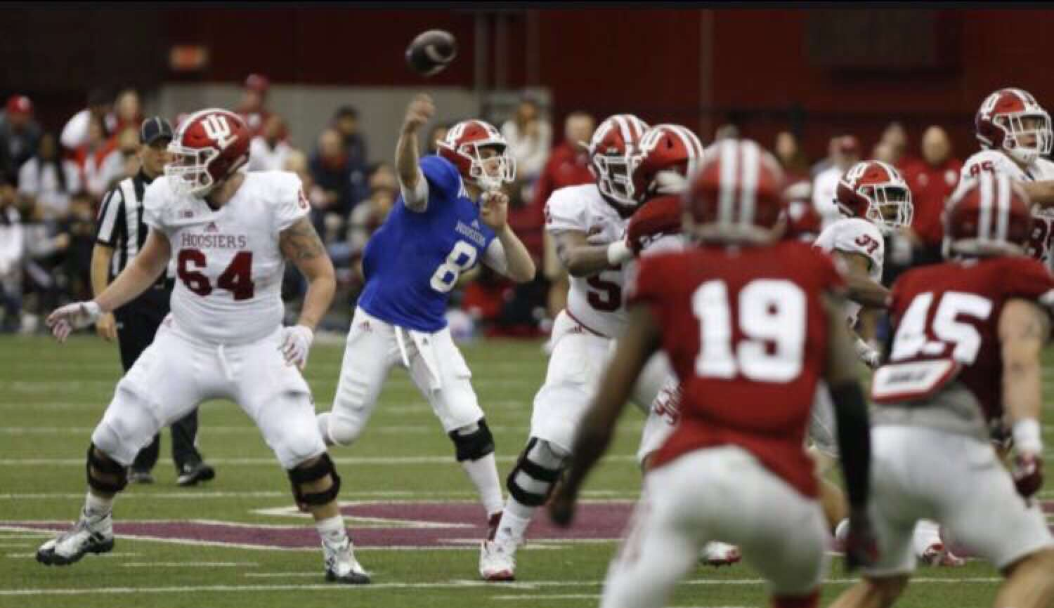 Niles West alum Johnny Pabst throwing a touchdown for the Indiana Hoosiers.