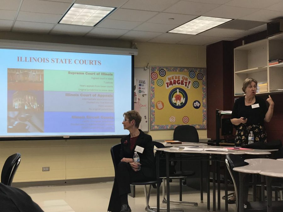 Sharon Eiseman and Karen Dimond give a presentation on careers in law.
